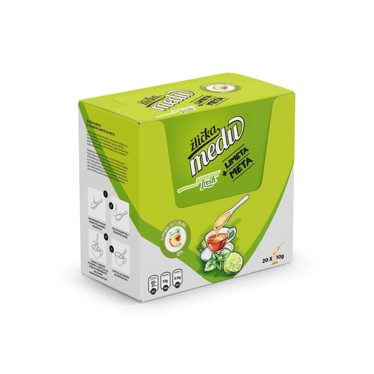Večje pakiranje v škatli z okusom lemete in mete