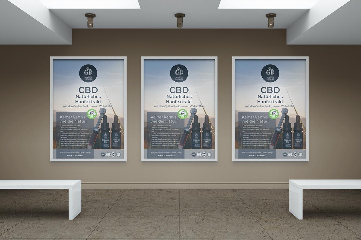 Grafično oblikovanje plakata formata A1 za oglaševanje CBD izdelkov