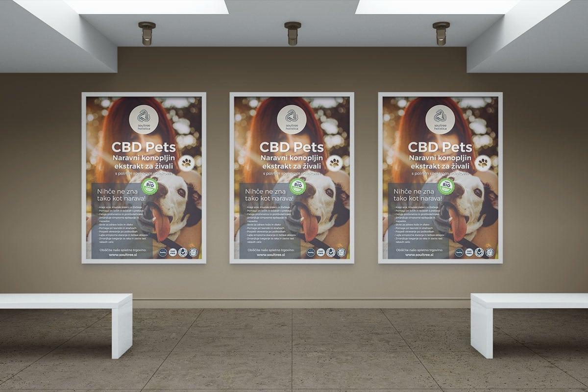 Grafično oblikovanje plakata formata A1 za oglaševanje CBD izdelkov za živali