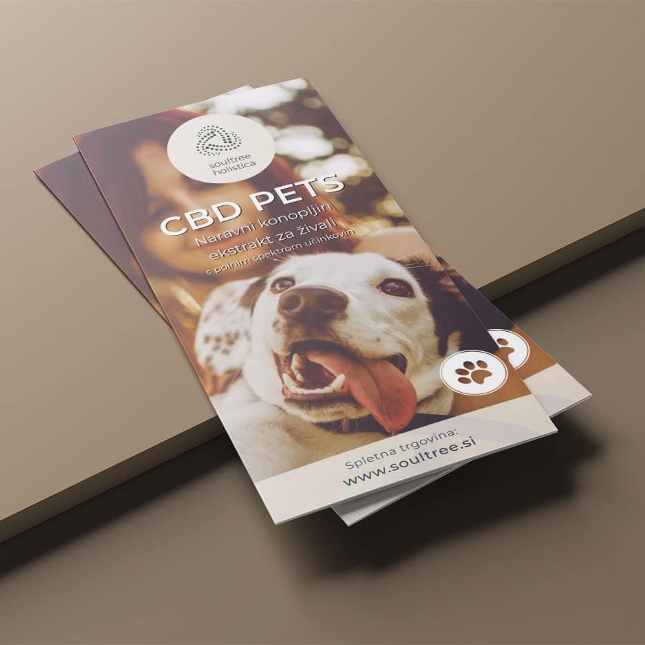 Grafično oblikovanje zgibanke z informacijami o CBD izdelkih za živali