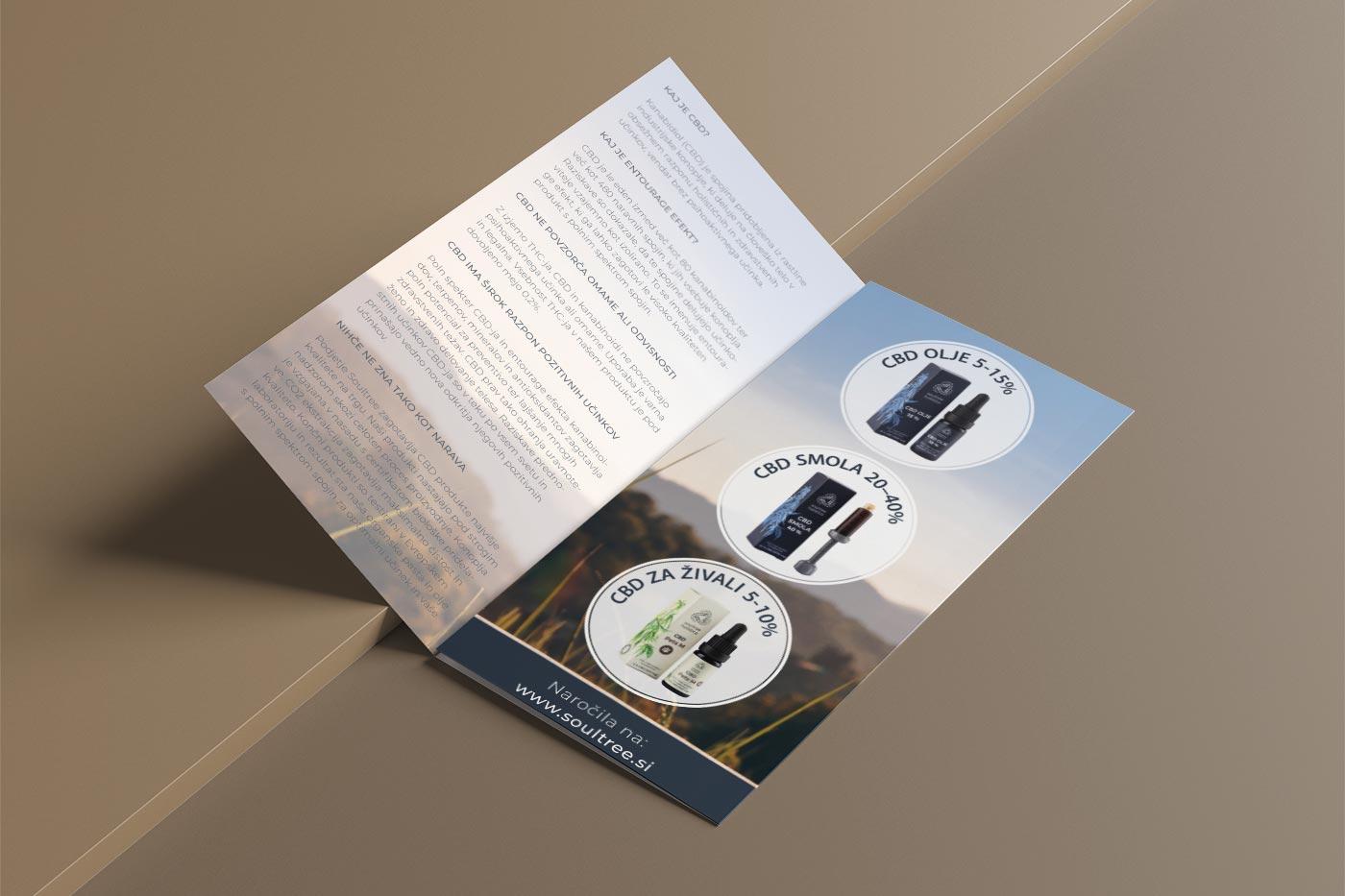 Grafično oblikovanje zgibanke z informacijami o CBD izdelkih