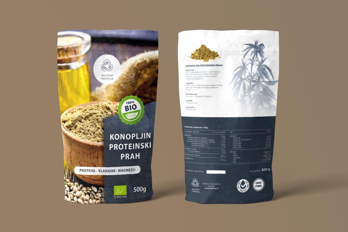 Oblikovanje embalaže za konopljine proteine